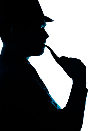 Silhouette of Man Smoking Pipe on a White Background  photo
