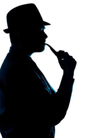 private detective: Silhouette of Man Smoking Pipe on a White Background