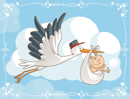 Stork with Baby Vector Cartoon  Vector