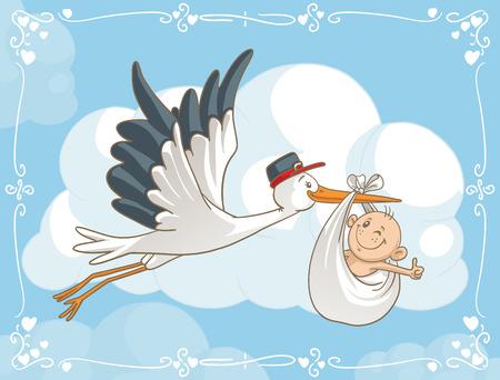 baby cartoon: Stork with Baby Vector Cartoon