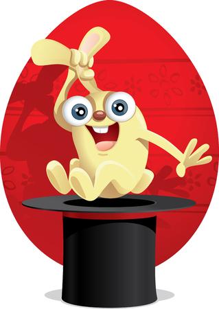 Magic Easter Bunny Cartoon Vector