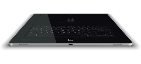 touch down: Vector Tablet Frontal View Horizontal Surface