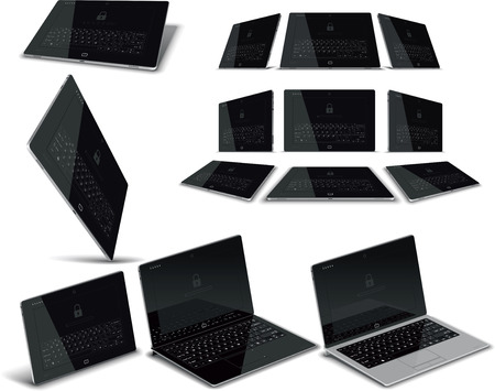 electronic devices: Vector Tablet Multiple Views Illustration