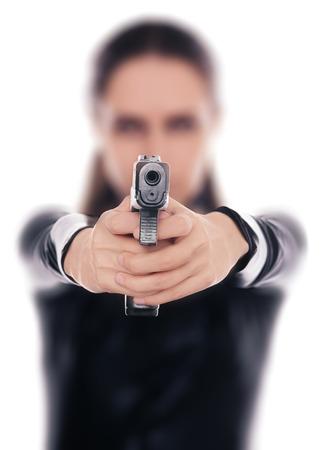 Femme Spy Visant Gun Banque d'images - 28035951