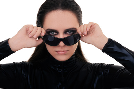 spy girl: Woman with Sunglasses in Black Leather Suit