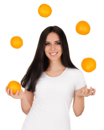 Girl Juggling Oranges White T-shirt and Background photo