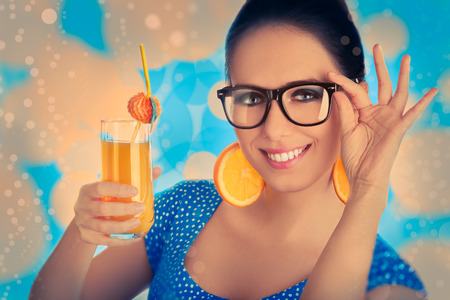 Smart Girl with Orange Juice and Orange Slice Earrings photo