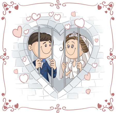 woman prison: Just Married Couple in Jail Vector Cartoon Illustration