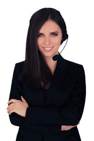 corporate women: Call Center Operator in Black Blazer