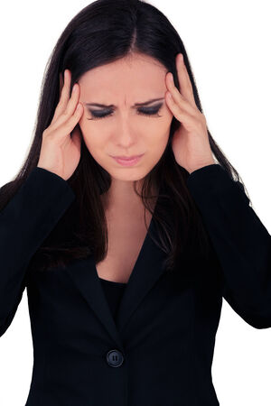 stressing: Stressed Young Business Woman in Black Suit  Stock Photo