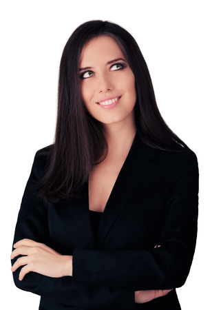 Young Business Woman in Black Suit photo
