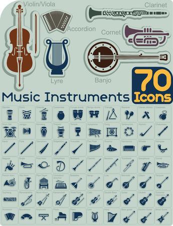 70 Music Instruments Icons Set  Illustration