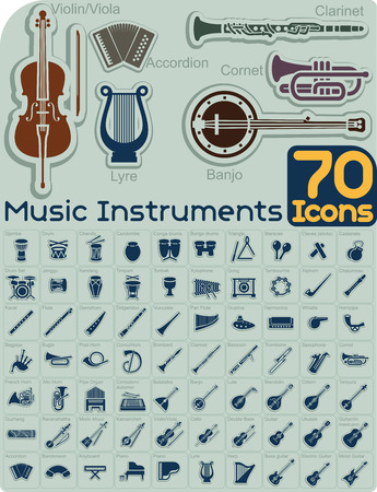 70 Music Instruments Icons Set  Vettoriali