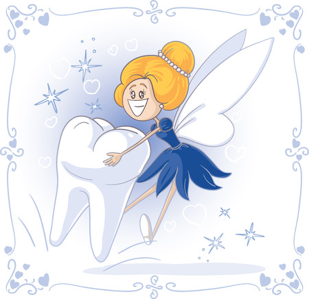 tooth extraction: Tooth Fairy Vector Cartoon Illustration