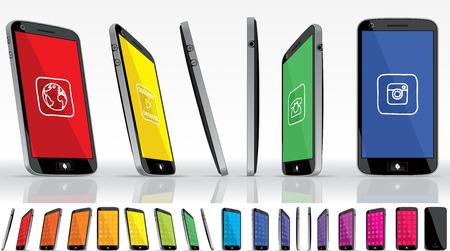 Black Smart Phone - Multiple Views  Vector