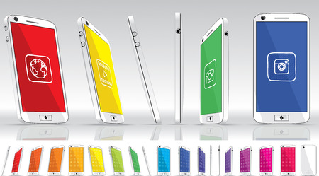 White Smart Phone - Multiple Views  Vector