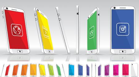controls: White Smart Phone - Multiple Views