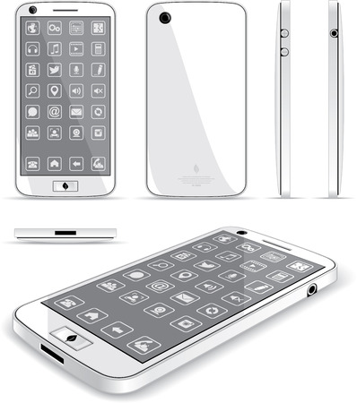 White Smart Phone 3D and Conventional Views  Vector