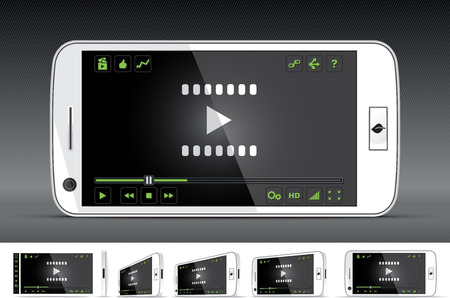 video player: White Smart Phone Video Player  Illustration