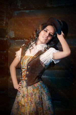 victorian lady: Steampunk Girl with Top Hat and Aviator Glasses