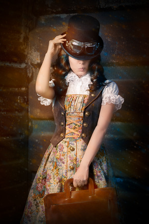 victorian lady: Steampunk Girl with Leather Portfolio Bag