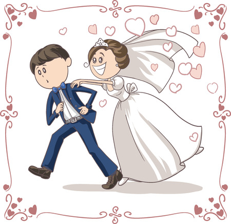 Running Groom Chased by Bride Funny Cartoon Imagens - 31278793