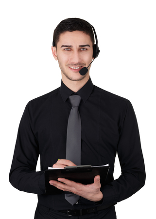 Call Center Man with Headset and Clipboard Isolated on White photo