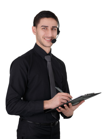 Call Center Man with Headset and Clipboard Isolated on White Stock fotó