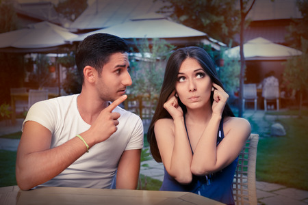 Cute Young Couple Arguing  photo