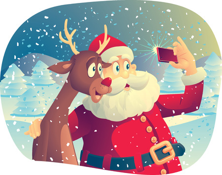 selfie: Vector cartoon of Santa Claus and his best friend taking a Christmas picture together.
