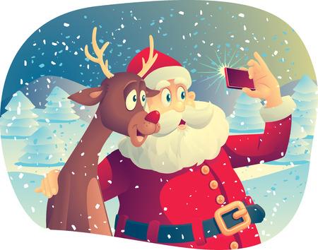 diciembre: Vector de dibujos animados de Santa Claus y su mejor amigo de tomar una foto de la Navidad juntos.