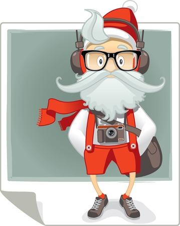 Vector cartoon of Santa Claus in stylish hipster outfit with eyeglasses, photo camera and headphones. File type: vector EPS AI8 compatible. Illustration