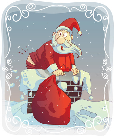 Vector cartoon of a funny Santa trying to fit the chimney Vector