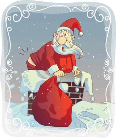 fit: Vector de dibujos animados de un Santa divertido tratando de encajar la chimenea