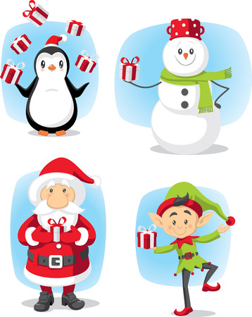 bewitched: Winter graphics cartoon characters collection File type: vector EPS AI8 compatible. No transparencies, only compatible gradients.