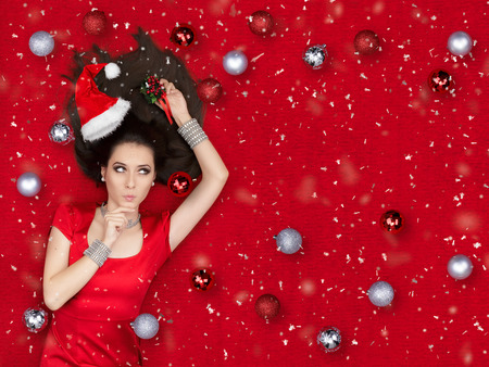 silver jewelry: Beautiful surprised woman in Christmas fantasy portrait Stock Photo