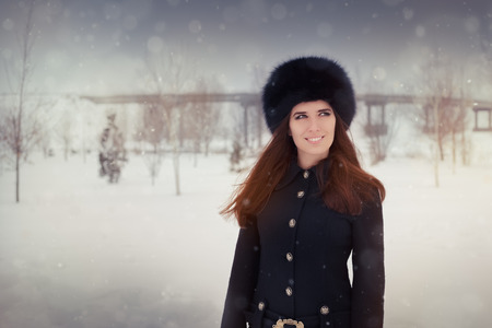 russian woman: Beautiful stylish woman outside in the cold