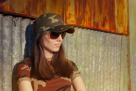 army girl: Portrait of a tough beautiful female army soldier Stock Photo
