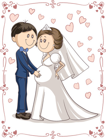 just married: dibujo animado de una novia embarazada y un feliz novio
