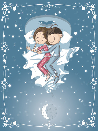 woman lying in bed: Vector cartoon of a boyfriend and girlfriend sleeping together Illustration