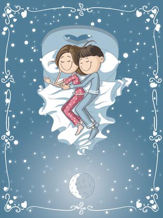 pareja durmiendo: Vector de dibujos animados de un novio y la novia de dormir juntos