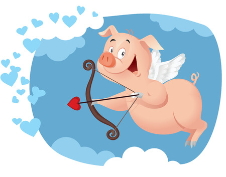 matchmaking: Illustration of a sweet pig character flying in Valentine card concept Illustration