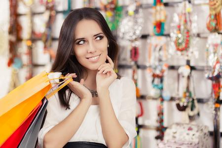 トレンディな店のレジ袋を持つ少女の肖像画