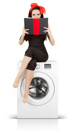 instructions: Girl Reading a Book on a Washing machine