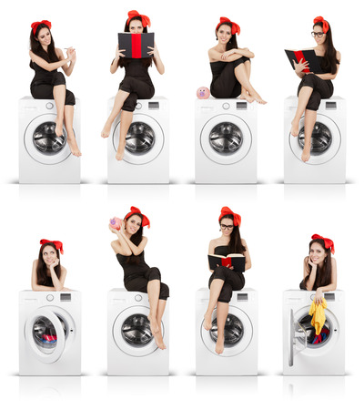 Series of portraits of a young housewife spending her time while doing laundry photo