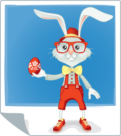 fashion story: Vector cartoon of funny rabbit holding and Easter egg