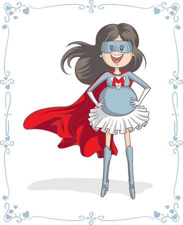 mommy: Vector cartoon of a pregnant super heroine. Mother?s Day vector illustration