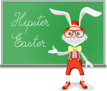 greenboard: Vector cartoon of a funny professor rabbit Illustration
