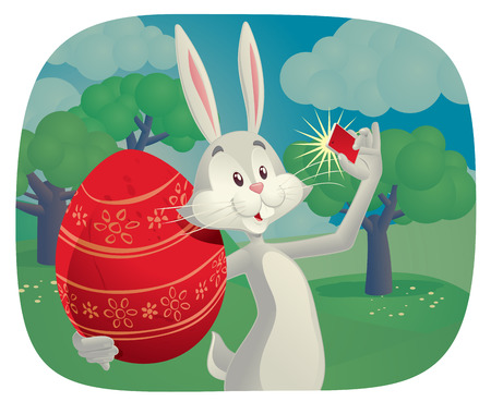 taking picture: Vector cartoon of funny rabbit holding Easter egg and taking a picture