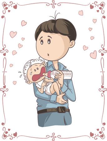 sad love: Father Feeding Crying Baby Vector Cartoon